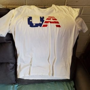Under Armour  red white and blue t shirt